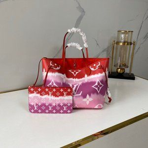 Louis Vuitton Escale Neverfull Mm Tote Bag Red